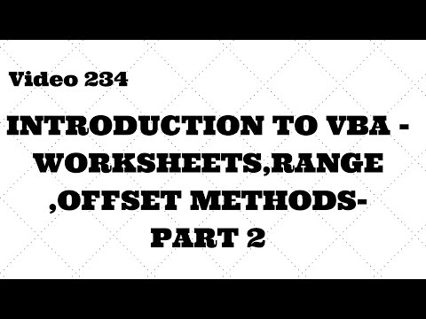 Learn Excel - Video 234 -VBA -Introduction to Range,Sheets,Offset -Part 2