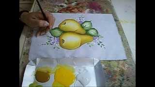 PINTURA EM TECIDO – Pêras – How to painting a pear