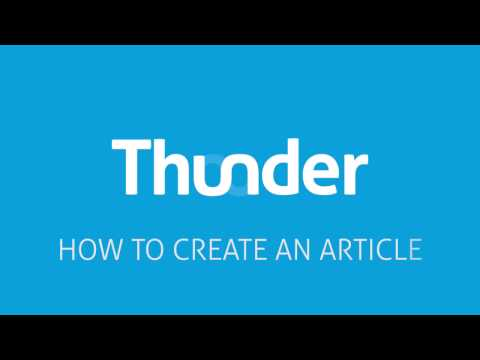 Thunder - How to create an article