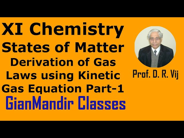 XI Chemistry |States of Matter |Derivation of Gas Laws by Kinetic Gas Equation Part-1 by Ruchi Ma'am