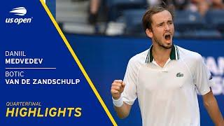 Daniil Medvedev vs Botic Van De Zandschulp Highlights | 2021 US Open Quarterfinal