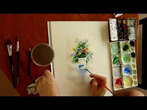peindre l 39 aquarelle comment peindre un bouquet de. Black Bedroom Furniture Sets. Home Design Ideas