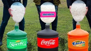 Experiment: Coca Cola, Fanta, Sprite VS Huge Baloons with Mentos