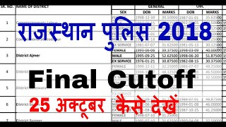 25 October Rajasthan Police Final Cut Off 2018 Final Result 2018 Rajasthan Police Cutoff 2018 Kaise
