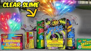 Covering Fireworks IN CLEAR SLIME! ( WHAT HAPPENS? )