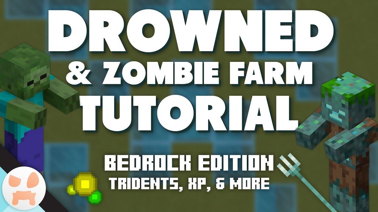 DROWNED + ZOMBIE FARM TUTORIAL  Bedrock, Easy, Tridents, XP, 11 Hit Zombies