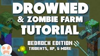 DROWNED + ZOMBIE FARM TUTORIAL | Bedrock, Easy, Tridents, XP, 1 Hit Zombies