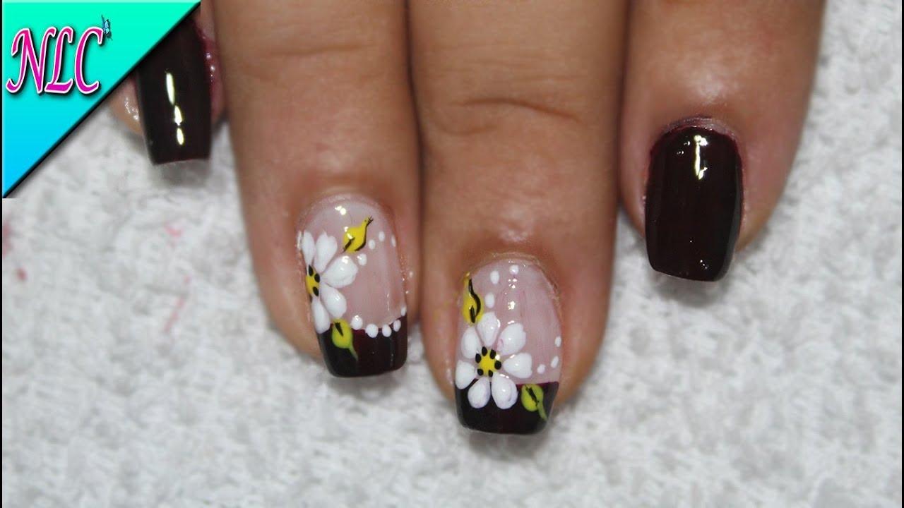Diseño De Uñas Flores Y Francés Uñas Flores Paso A Paso Flowers Nail Art Nlc