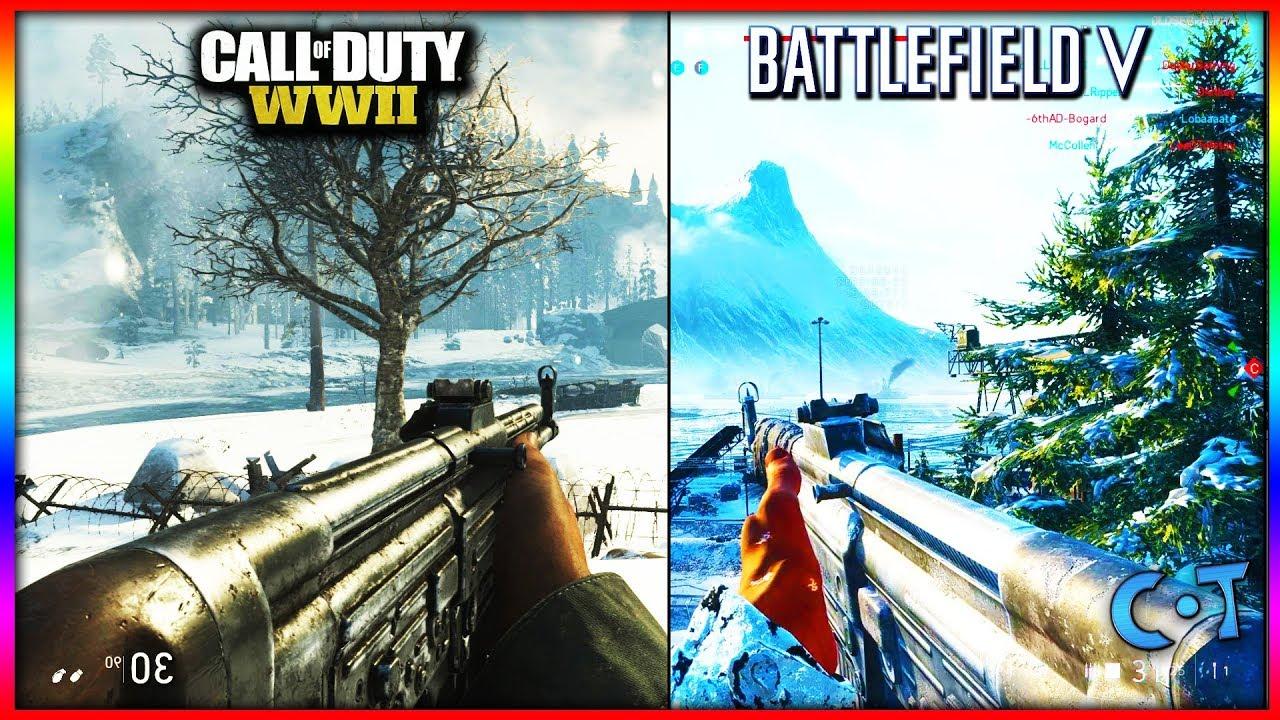 Battlefield 5 vs COD WW2 Oynanış & Grafikler Videosu