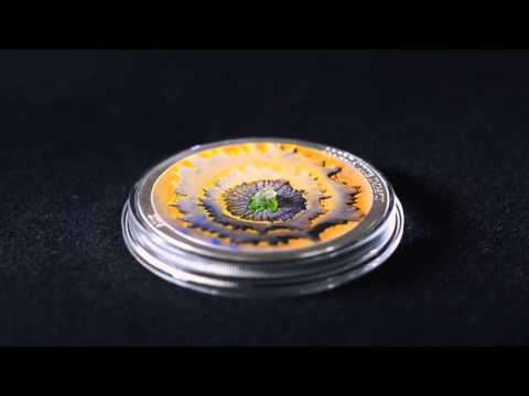 Cook Islands 2014 $5 Moldavite Meteorite Impact 1 Oz Silver Proof Coin