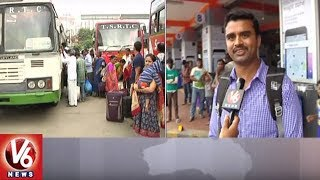 Serial Holidays Effect: Passengers Facing Problems With Lack Of RTC Buses | V6 News