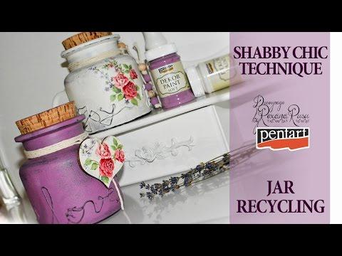 shabby chic glass recycling decoupage tutorial diy jar