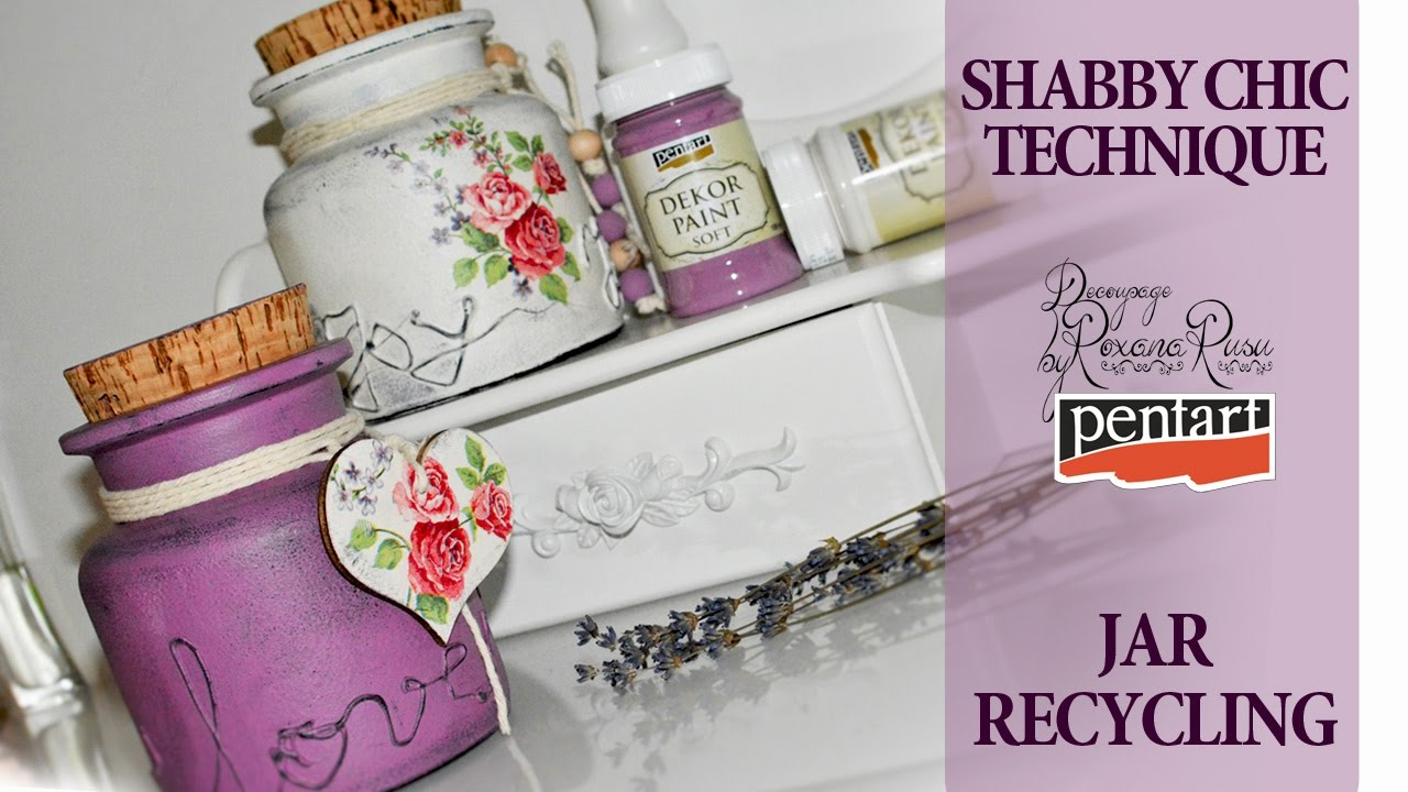 Shabby Chic Glass Recycling Decoupage Tutorial Diy Jar Youtube