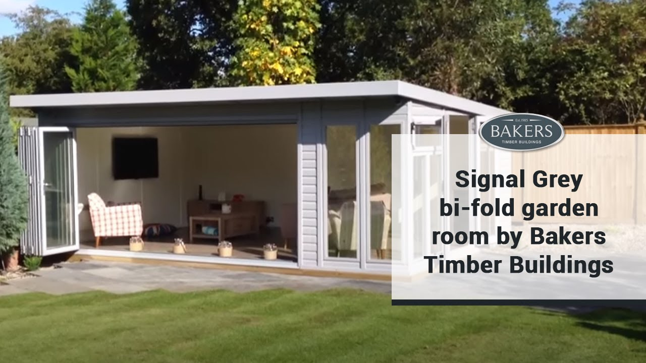 Signal grey bi fold garden room by bakers timber buildings for Timber garden rooms