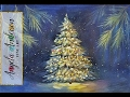 Snowy Christmas Tree Glowing at Night Acrylic Painting Tutorial LIVE