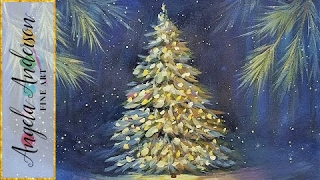 Snowy Christmas Tree Glowing at Night Acrylic Painting Tutorial LIVE