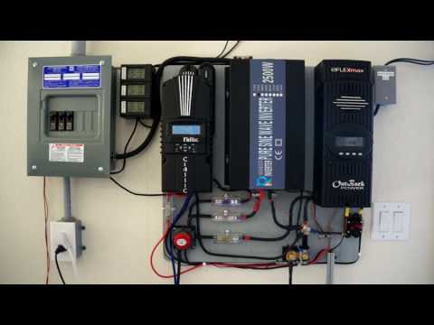 2kw Off Grid Solar Overview - cooling battery bank, electric solar water heater!