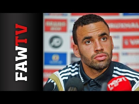 Hal Robson-Kanu speaks to the press ahead of Belgium qualifier