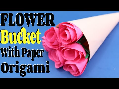 How To Make A Flower Bucket With Paper(Origami) || Easy & Simple Tutorial || Craftyhood VD # 014