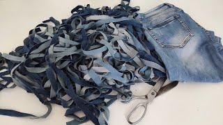 Собираю джинсы для очаровательного коврика. Такую красоту хоть на продажу выставляй сметут на раз