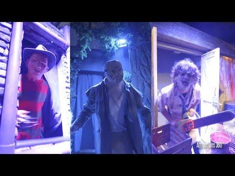 [4k] Freddy, Jason, Leatherface ALL in 1 Maze - Halloween Horror Nights 2017 Highlights
