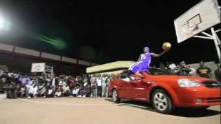 AND1 Guy Dupuy dunks over a car in Nairobi Kenya
