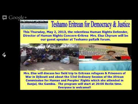 Mrs. Elsa Chyrum on Eritrean Refugee & POW in Djibouti and 53rd Ordinary Session of ACHPR