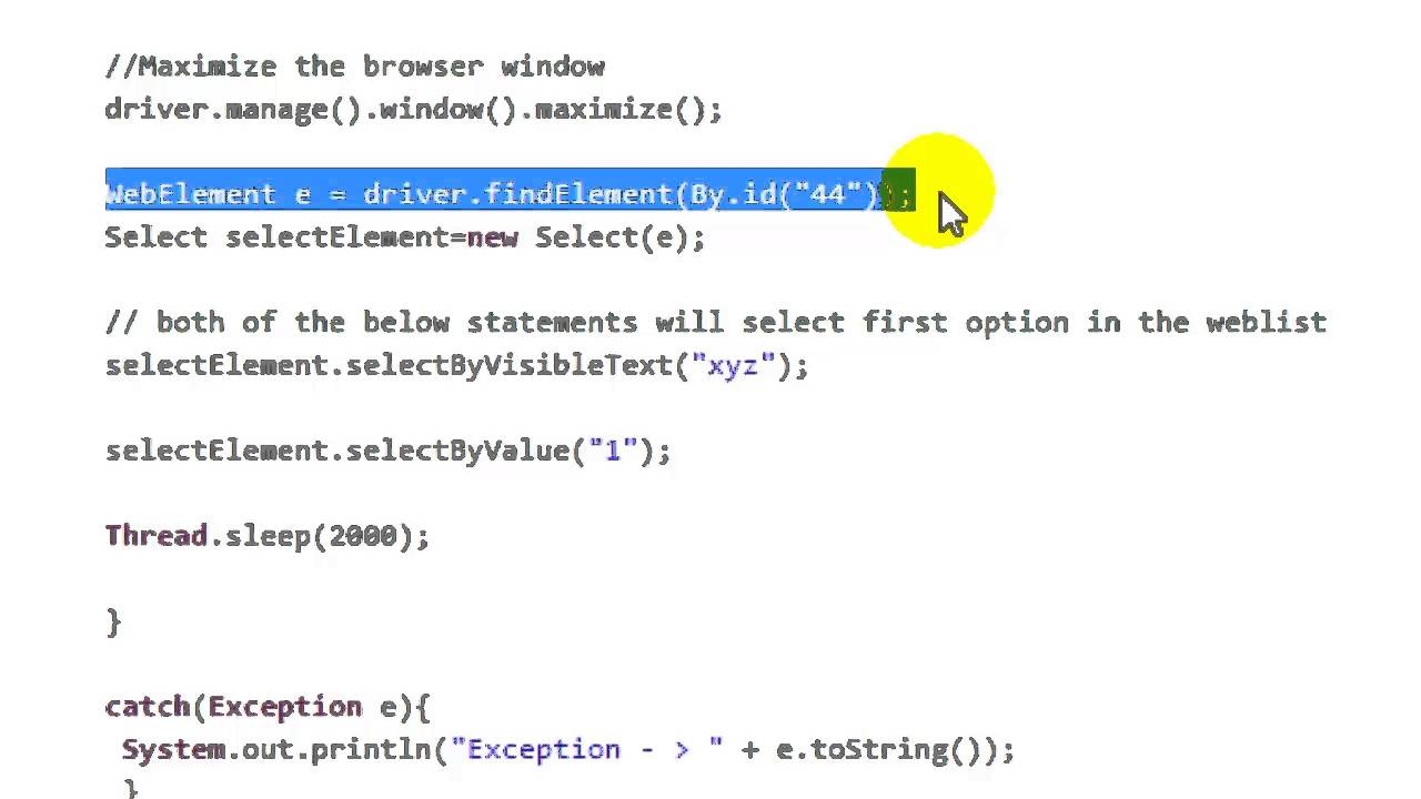 selecting a value from the dropdown in Selenium Webdriver