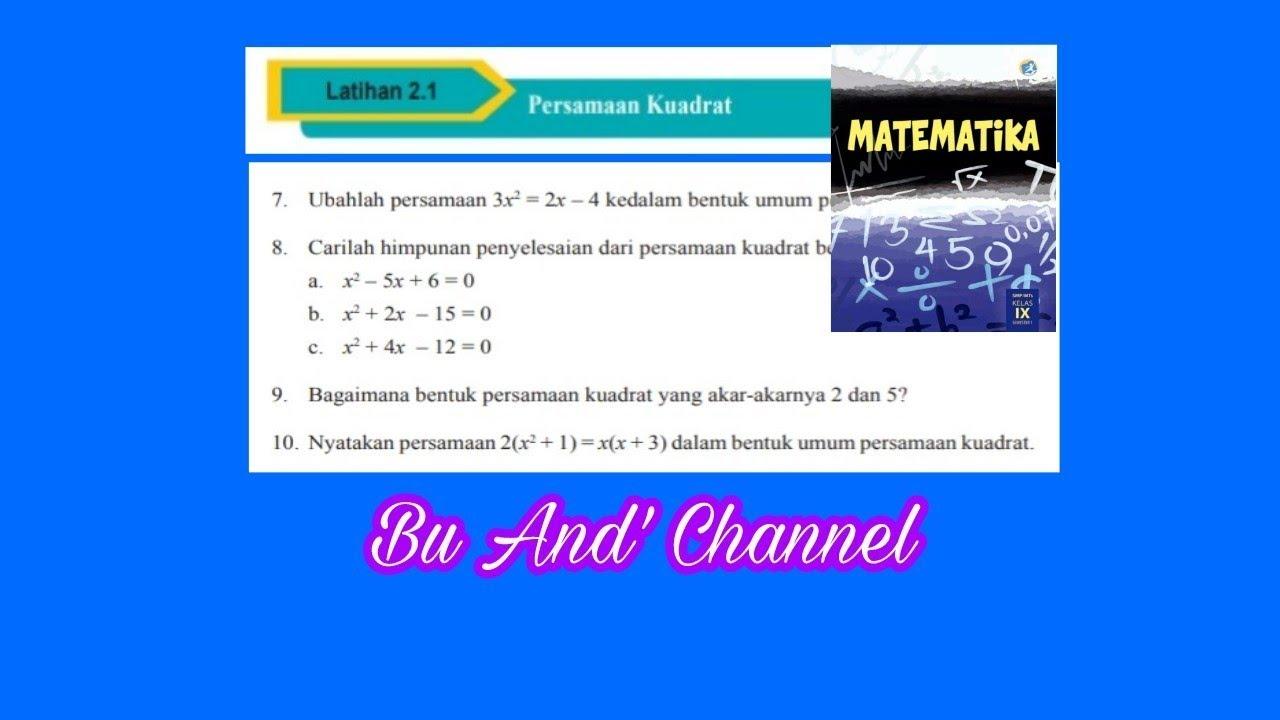 Latihan 5 3 Matematika Kelas 9 K13 No 1 5 By Matematika Danlajanto
