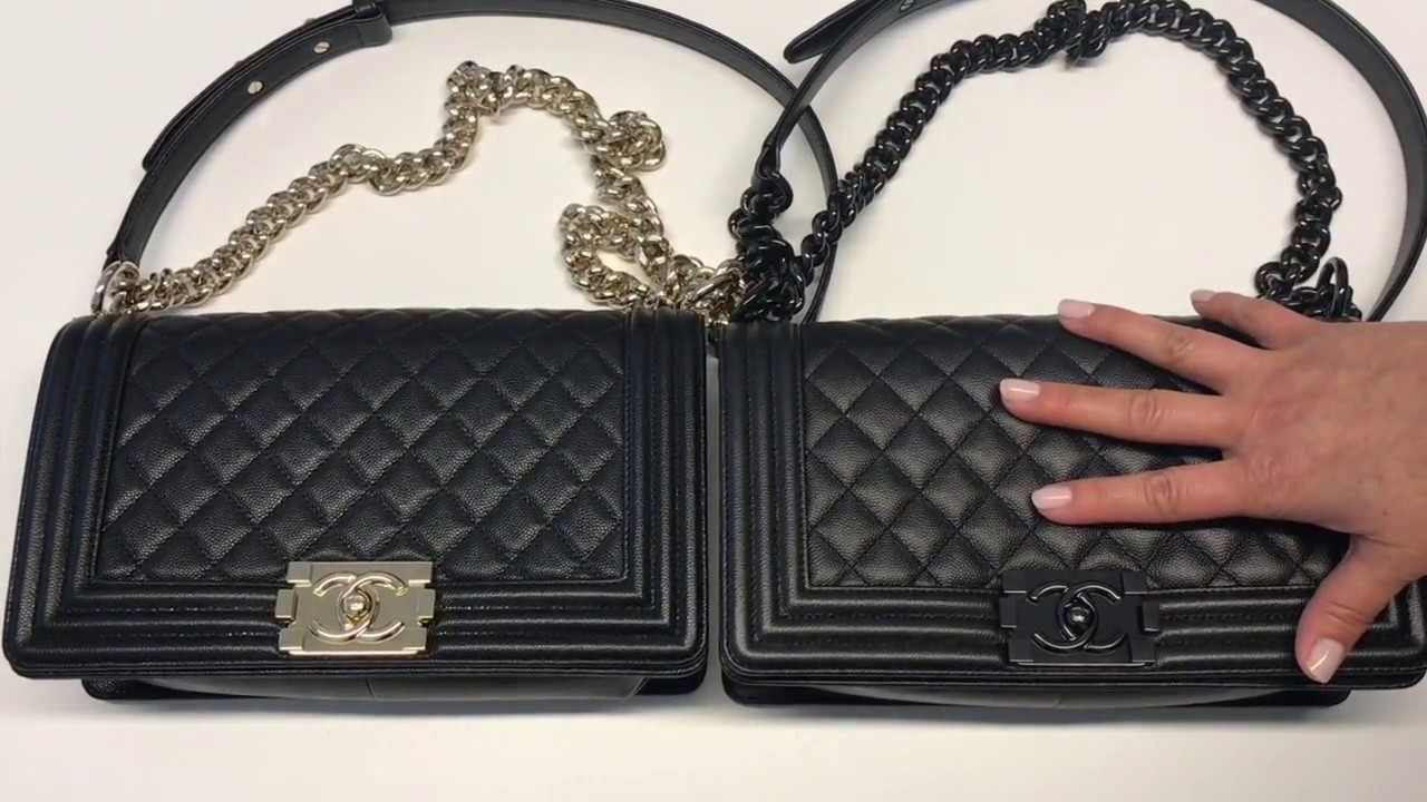 b2712fae82a1 Chanel Chevron vs. Caviar Boy Bag Comparisons. WARNING: The manhandling of  the bag may horrify you.