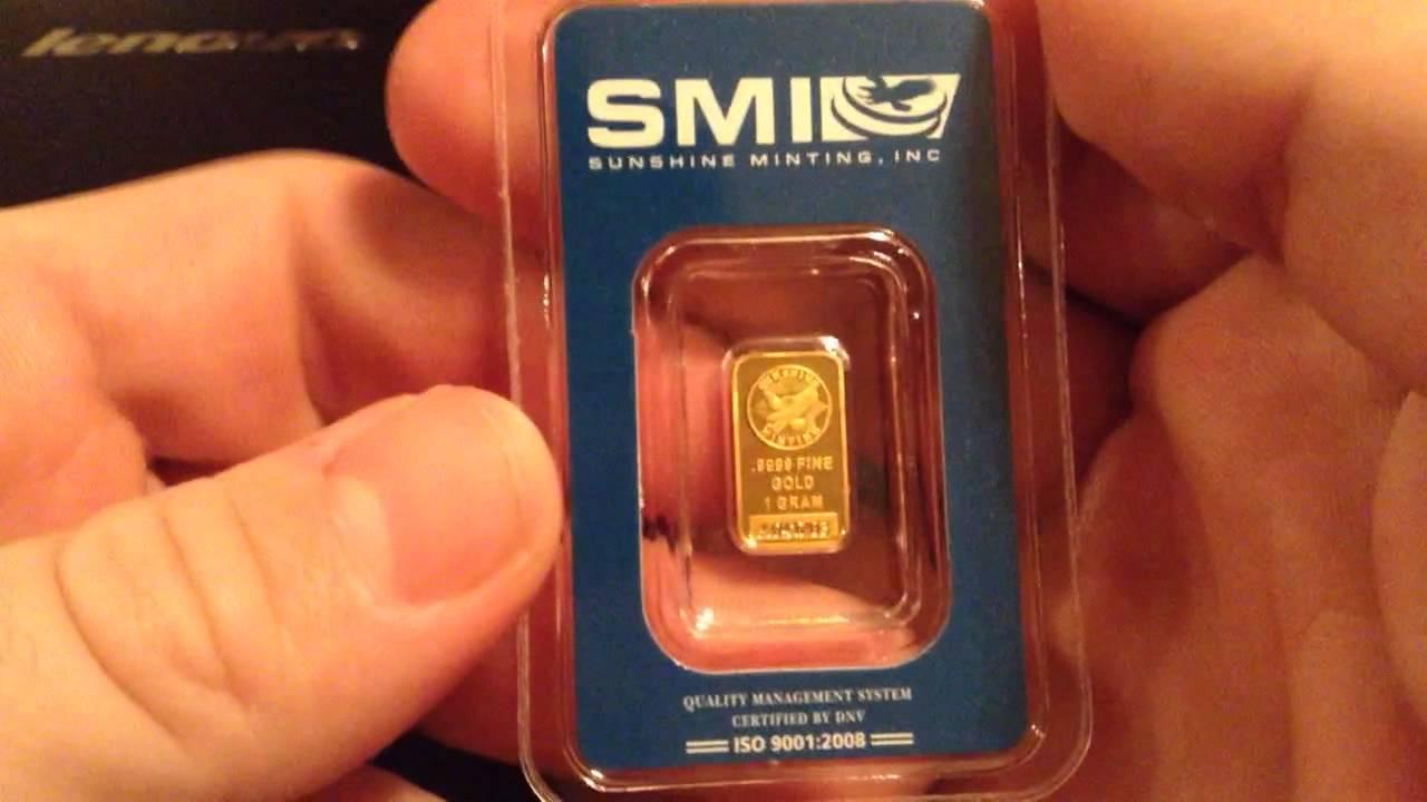 Sunshine Mint 1gram 9999 Gold Bar