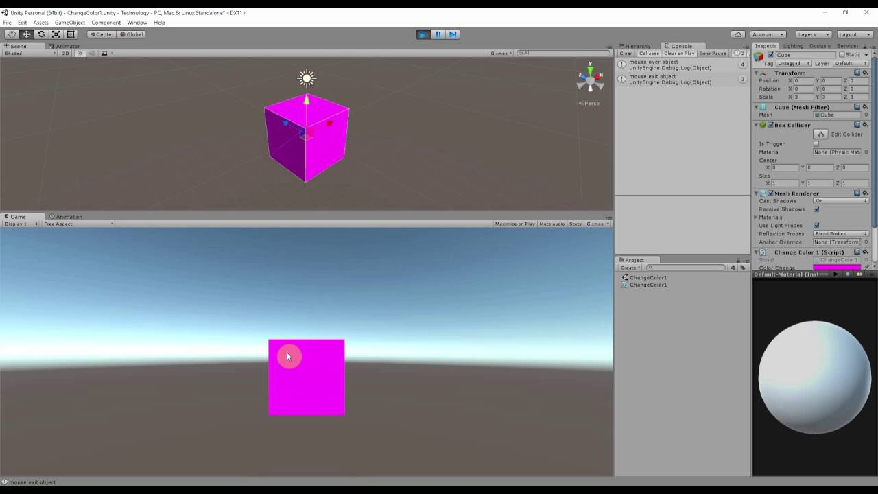Unity: Change Object color with Mouse - YouTube