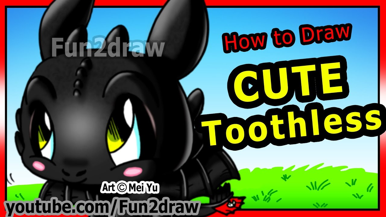 How To Draw Toothless  How To Train Your Dragon  Night Fury  Fun2draw  Cartoons  Youtube