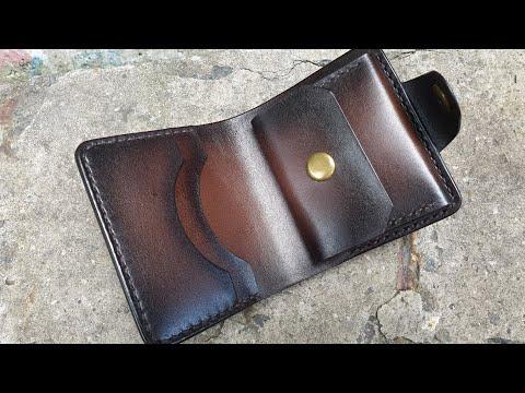 Кошелек ручной работы из натуральной кожи. Handmade Vegetable Tanned Leather Wallet.