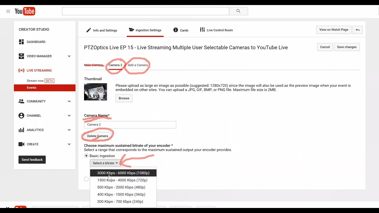 Live Streaming Multiple User Selectable Cameras to YouTube Live (EP 15)