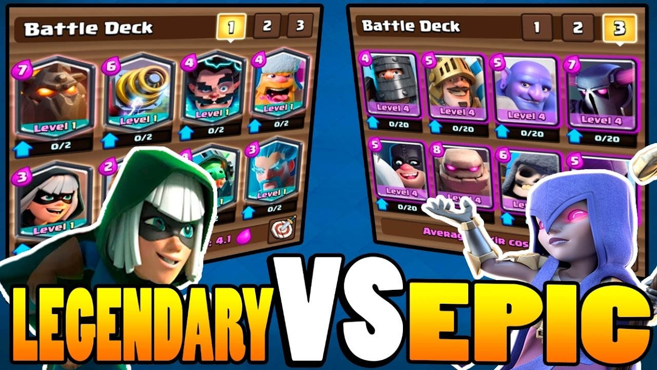 Clash royale all legendary v 39 s all epic deck youtube for Clash royale deck arc x