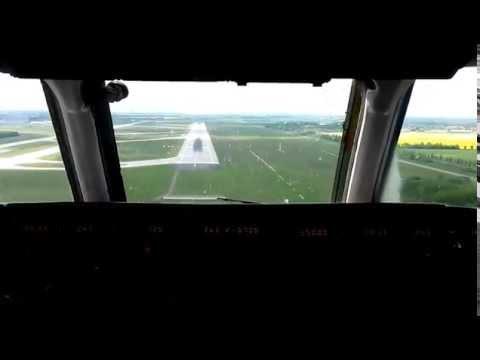 Bulgarian Air Charter cockpit landing in Leipzig airport (EDDP/LEJ)