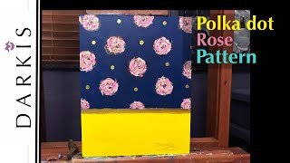 Polka dot Rose Pattern Canvas Painting | Time-Lapse