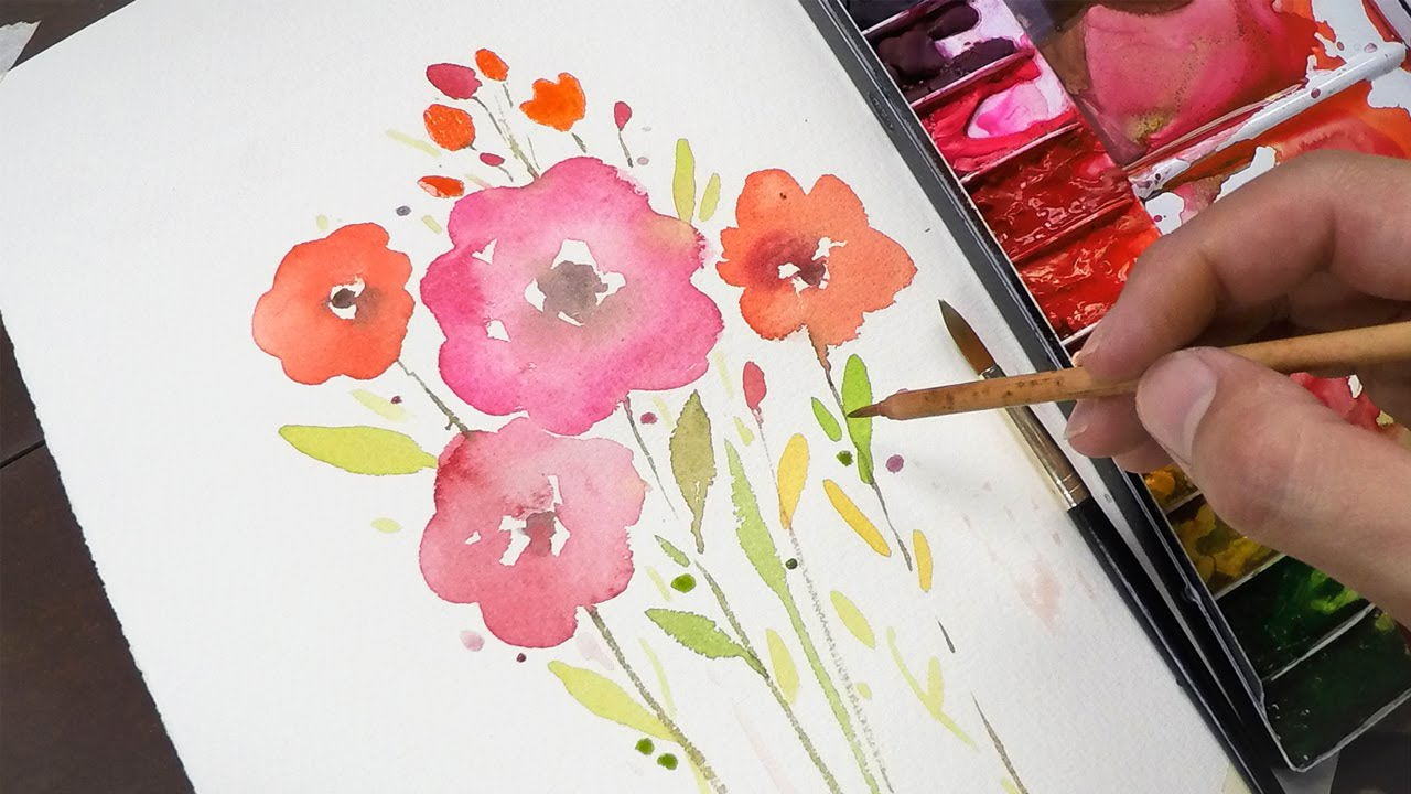 Watercolor painting for beginners simple and easy youtube for Simple watercolor paintings for kids