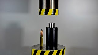 HYDRAULIC PRESS AGAINST CARTRIDGES IN A CLOSED CONTAINER
