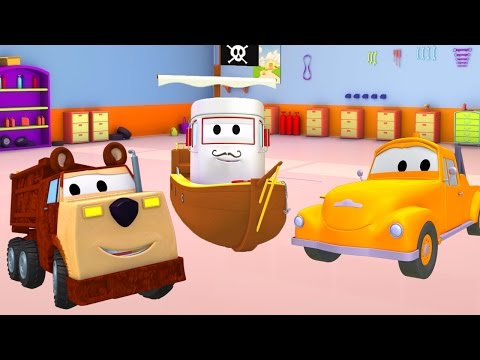 Tom The Tow Truck's Paint Shop with Bobby the pirate and Ethan the Bear  🎨 Truck cartoons for kids