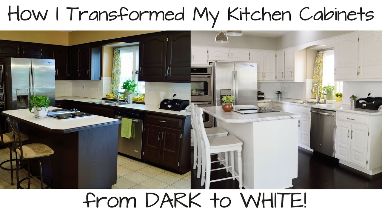 How to paint kitchen cabinets from dark to white youtube for How to paint white cabinets