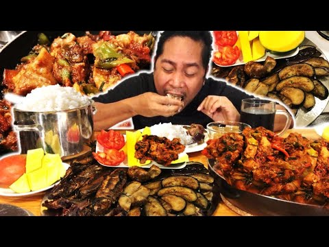 SPICY PORK BINAGOONGAN!  PRITONG TALONG! CRISPY TINAPA! MANGGA AT BAGOONG! Filipino Food. Mukbang.