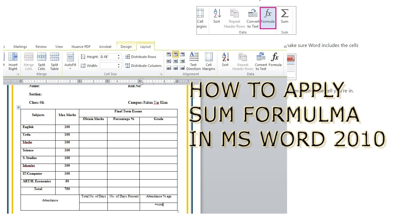 how to add formula to word table