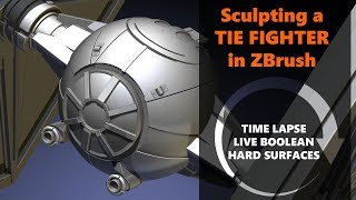 Sculpting a Tie Fighter in Zbrush with Live Boolean