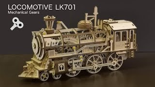 Wooden Locomotive Train from Robotime plywood ROKR LK701 Build Video + Discount code