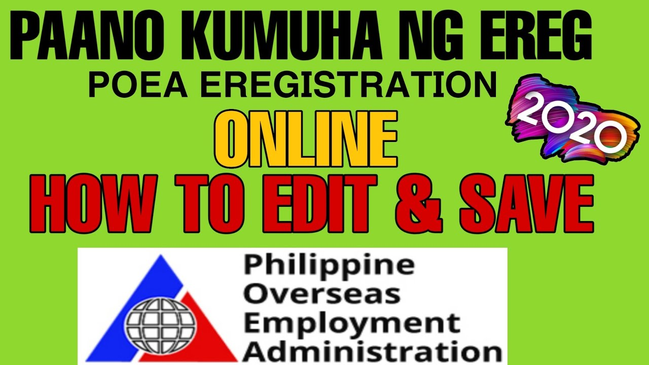 How to Register POEA eRegistration Online | How to Edit and Save