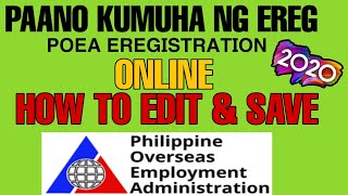 How to Register POEA eRegistration Online  | How to Edit and Save | 2020