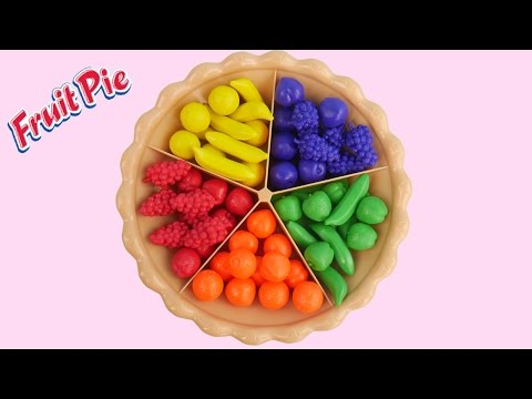 Learn Colors Fruits Sorting Pie Play Doh Balls Strawberry Molds Creative Kid Fun SparkleSpiceFun.com