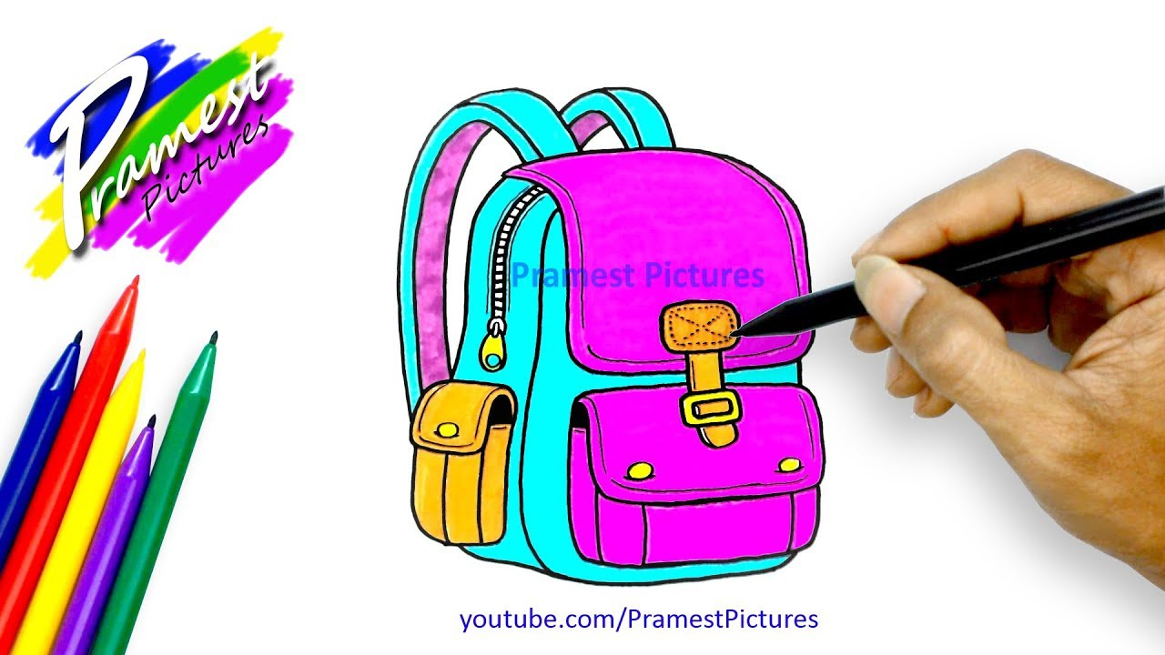 How To Draw A School Bag Coloring Pages For Kids